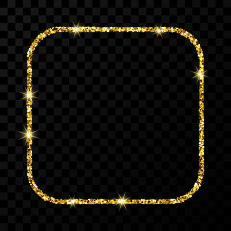 Gold glitter frame. Square with rounded corners frame with shiny sparkles on dark transparent background. Vector illustration