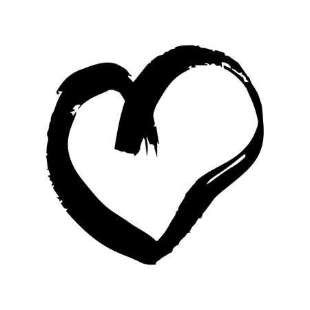 Corazones de pincel dibujados a mano. Corazón de grunge negro doodle sobre fondo blanco. Símbolo de amor romántico. Ilustración de vector.