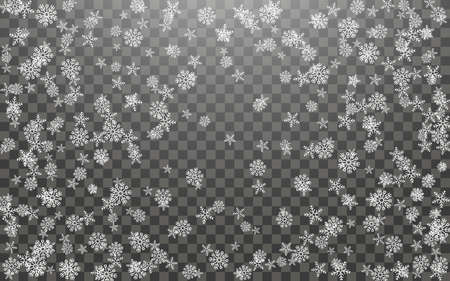 Snowfall and falling snowflakes on dark transparent background. White snowflakes and Christmas snow. Vector illustration Vetores