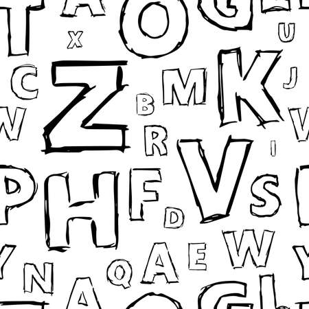 Doodle alphabet seamless background.  Endless vector pattern with black letters on a white background.