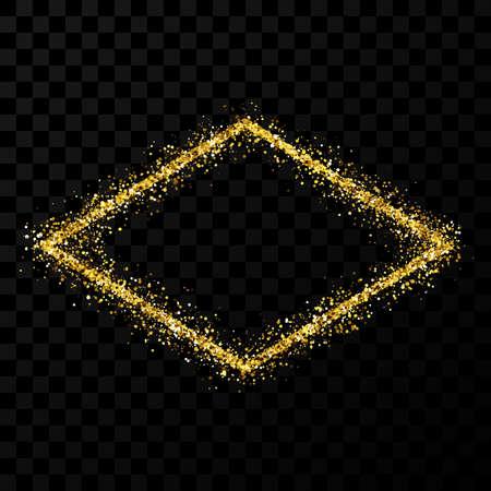 Gold glitter frame. Rhombus frame with shiny sparkles on dark transparent background. Vector illustration