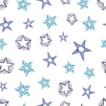 Seamless background of doodle stars. Multicolor hand drawn stars on white background. Vector illustration