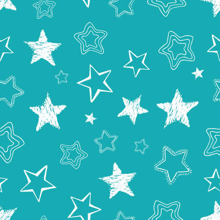 Seamless background of doodle stars. White hand drawn stars. Vector illustration