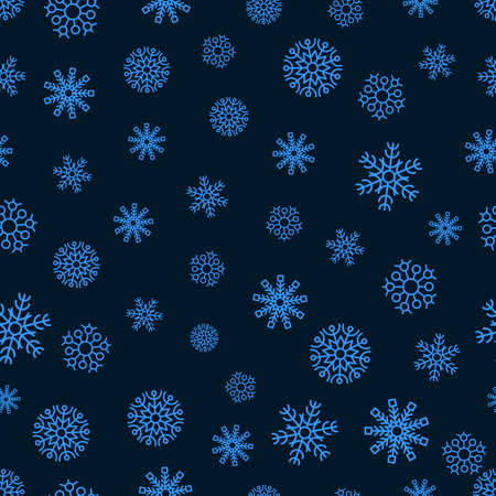 Snowflakes seamless background. Christmas and New Year decoration elements. Vector illustration.