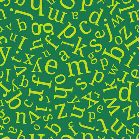 Alphabet seamless background.  Endless vector pattern with green letters on a green background.