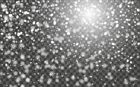 Snowfall and falling snowflakes on dark transparent background. White snowflakes and Christmas snow. Vector illustration Illusztráció