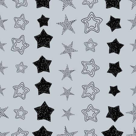 Seamless background of doodle stars. Black hand drawn stars on grey background. Vector illustration Illusztráció