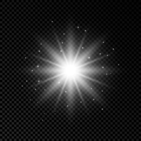 Light effect of lens flares. White glowing lights starburst effects with sparkles on a transparent background. Vector illustration