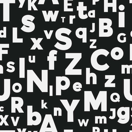 Alphabet seamless background.  Endless vector pattern with white letters on a black background. Illusztráció