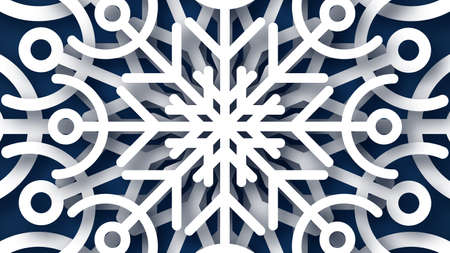 Christmas dark blue background with white paper glitter snowflakes. New year snowflakes holiday decoration. Vector illustration