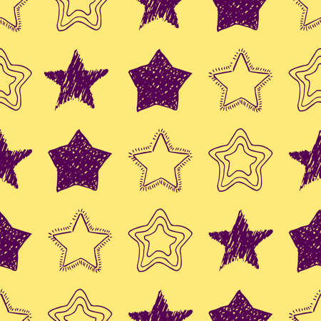 Seamless background of doodle stars. Purple hand drawn stars on yellow background. Vector illustration