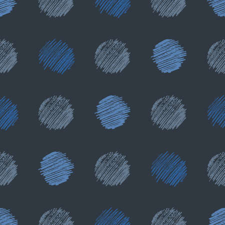 Seamless pattern with hand drawn scribble smear circle. Abstract grunge texture. Vector illustration