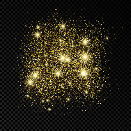 Golden glittering backdrop on a dark transparent background. Background with gold glitter effect and empty space for your text.  Vector illustration
