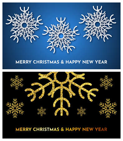 Christmas dark background with gold glitter snowflakes and blue background with white paper snowflakes.  Set of two new year snowflake holiday decorations. Vector illustration