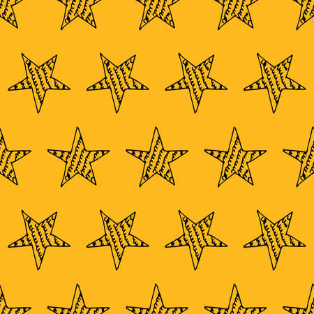 Seamless background of doodle stars. Black hand drawn stars on yellow background. Vector illustration