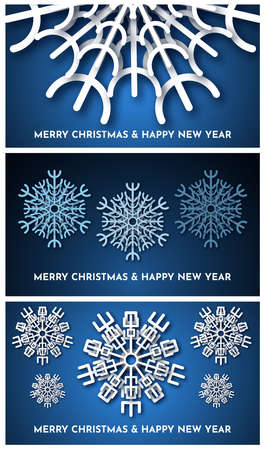 Christmas dark blue background with white paper glitter snowflakes. Set of three new year snowflakes holiday decorations. Vector illustration
