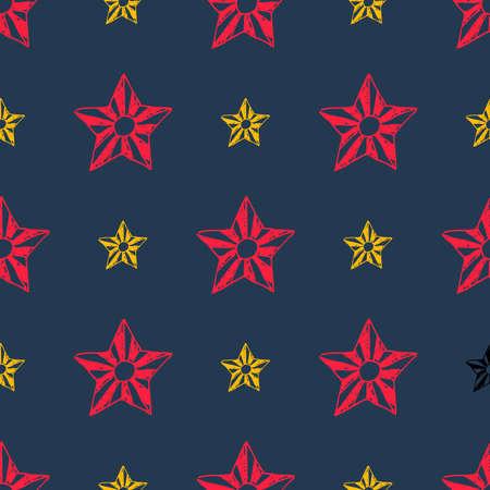 Seamless background of doodle stars. Red and yellow hand drawn stars on dark background. Vector illustration Illusztráció