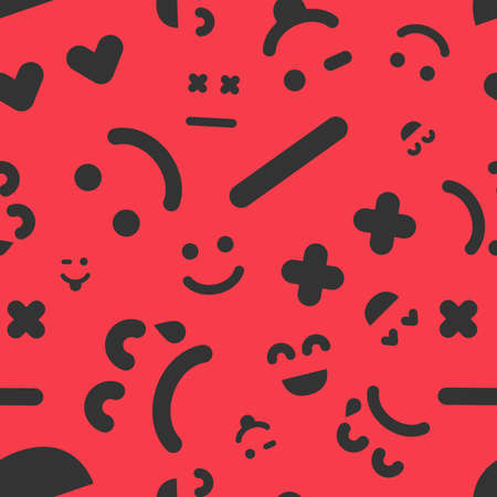 Cartoon faces with emotions. Seamless pattern with different emoticons on red background. Vector illustration