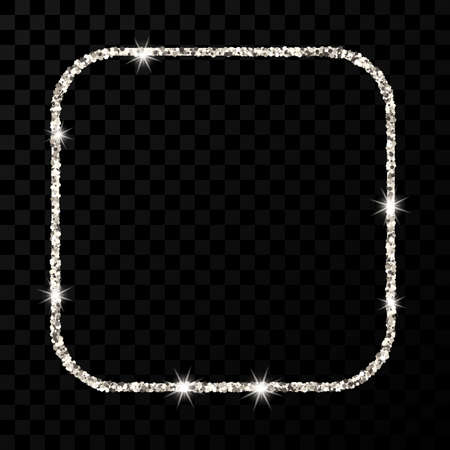 Silver glitter frame. Square with rounded corners frame with shiny sparkles on dark transparent background. Vector illustration