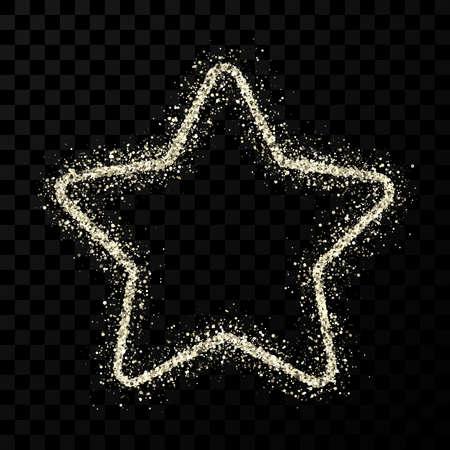 Silver glitter star with shiny sparkles on dark transparent background. Vector illustration Illusztráció
