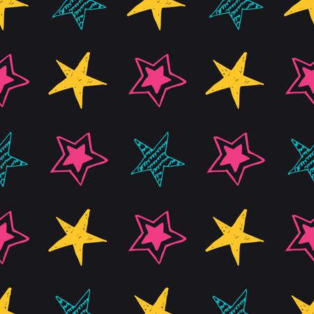 Seamless background of doodle stars. Multicolor hand drawn stars on black background. Vector illustration Illusztráció