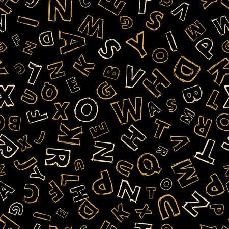Doodle alphabet seamless background.  Endless vector pattern with letters on a black background. Illusztráció