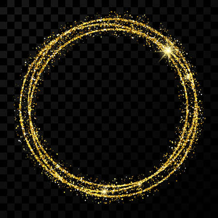 Gold circle frame. Modern shiny frame with light effects isolated on dark transparent background. Vector illustration.