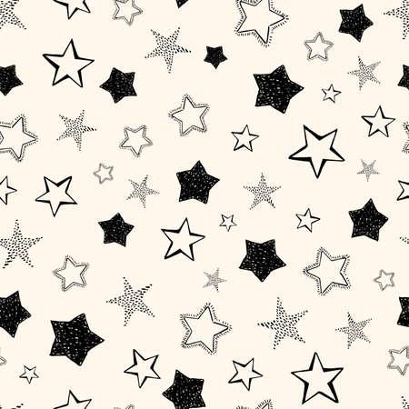 Seamless background of doodle stars. Black hand drawn stars on white background. Vector illustration