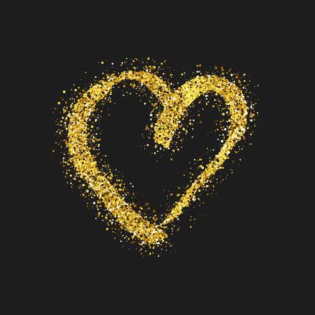 Gold glitter doodle heart on dark background. Gold grunge hand drawn heart. Romantic love symbol. Vector illustration. Illusztráció