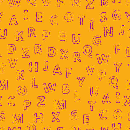 Doodle alphabet seamless background.  Endless vector pattern with purple letters on a yellow background. Illusztráció