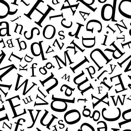 Alphabet seamless background.  Endless vector pattern with black letters on a white background.