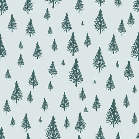 Seamless pattern with hand drawn Christmas trees. Sketched firs.  Winter holiday doodle elements. Vector illustration Illusztráció