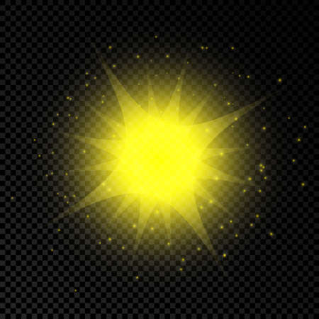 Light effect of lens flares. Yellow glowing lights starburst effects with sparkles on a transparent background. Vector illustration Ilustração