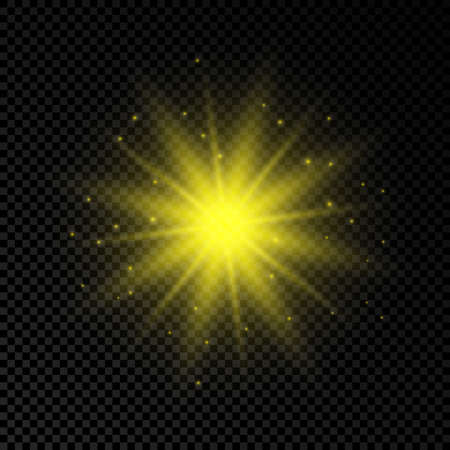 Light effect of lens flares. Yellow glowing lights starburst effects with sparkles on a transparent background. Vector illustration 向量圖像