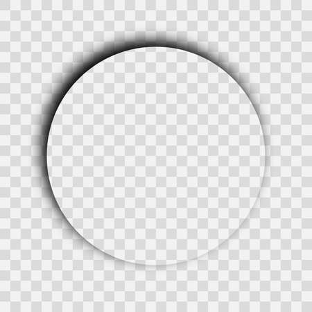 Dark transparent realistic shadow. Circle shadow isolated on transparent background. Vector illustration. Vettoriali
