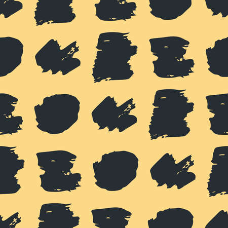 Seamless pattern with dark hand drawn scribble smear on yellow background. Abstract grunge texture. Vector illustration