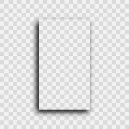 Dark transparent realistic shadow. Shadow of a vertical rectangle isolated on transparent background. Vector illustration.