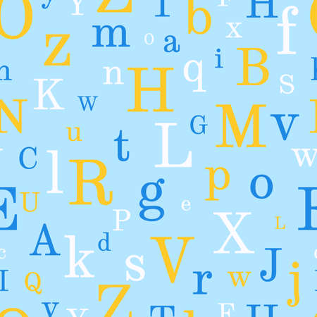 Alphabet seamless background.  Endless vector pattern with multicolor letters on a blue background.
