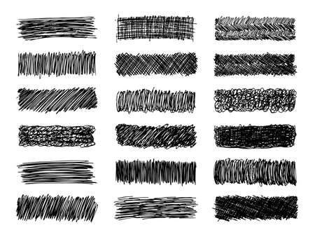 Sketch scribble smear. Set of eighteen black pencil smears in the shape of a rectangle on white background. Great design for any purposes. Vector illustration.