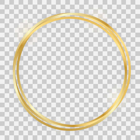Triple gold shiny circle frame with glowing effects and shadows on transparent background. Vector illustration 向量圖像