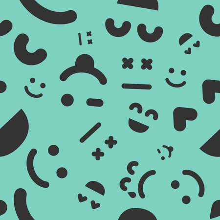 Cartoon faces with emotions. Seamless pattern with different emoticons on green background. Vector illustration