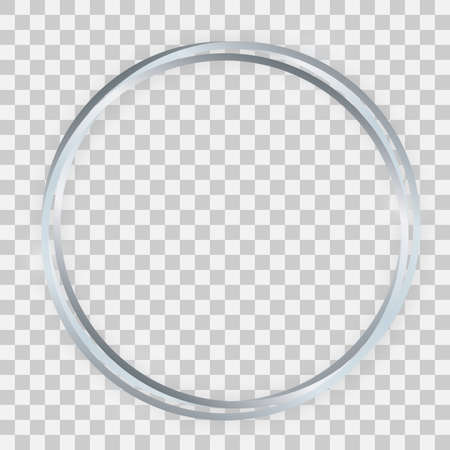 Triple silver shiny circle frame with glowing effects and shadows on transparent background. Vector illustration Иллюстрация