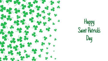 Happy Saint Patrick's day green background. Green clover leaves pattern. Vector illustration. Vektorové ilustrace