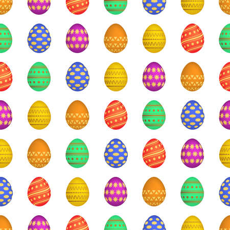 Seamless pattern with colorful Easter eggs. Vector illustration