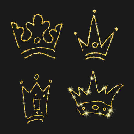 Gold glitter hand drawn crown. Set of four simple graffiti sketches queen or king crowns. Royal imperial coronation and monarch symbol isolated on dark background. Vector illustration.