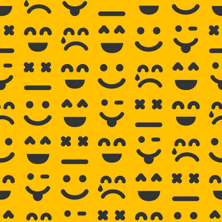 Cartoon faces with emotions. Seamless pattern with different emoticons on yellow background. Vector illustration