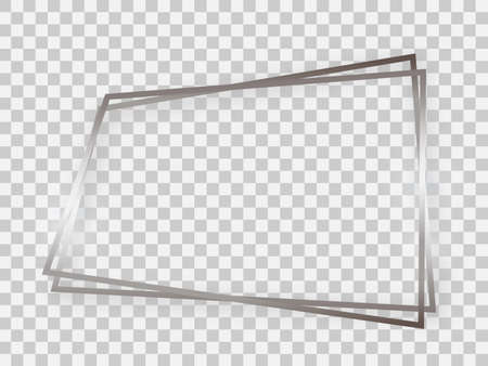Double silver shiny trapezoid frame with glowing effects and shadows on transparent background. Vector illustration
