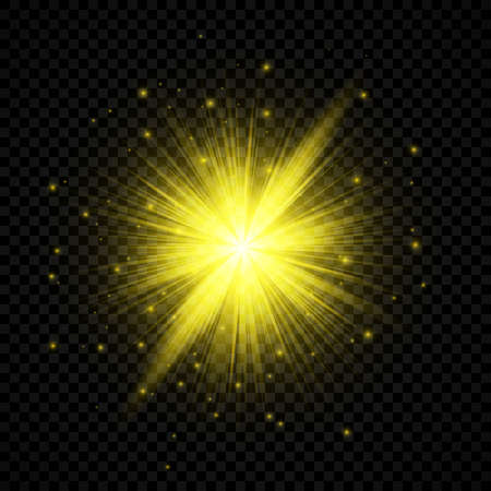 Light effect of lens flares. Yellow glowing lights starburst effects with sparkles on a transparent background. Vector illustration Иллюстрация