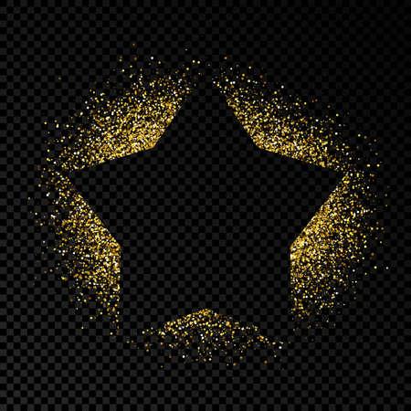 Star frame with golden glitter on dark transparent background. Empty background. Vector illustration.