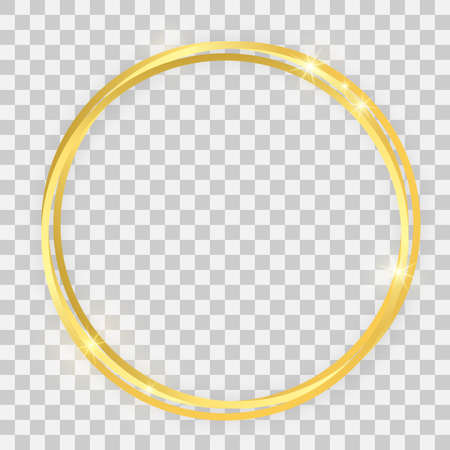 Triple gold shiny circle frame with glowing effects and shadows on transparent background. Vector illustration Иллюстрация